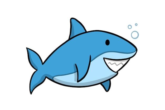 Płaski rekin dziecięcy w stylu cartoon