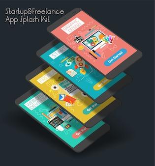 Płaski, responsywny szablon ekranów powitalnych aplikacji mobilnej startup i freelance ui z modnymi ilustracjami i makietami smartfonów 3d