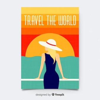 Płaski rocznika podróży plakat szablon