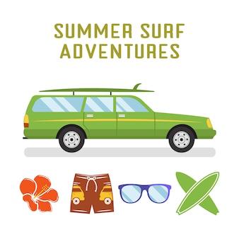 Płaski samochód surferski i elementy - deski surfingowe, okulary, kwiatki. odosobniony