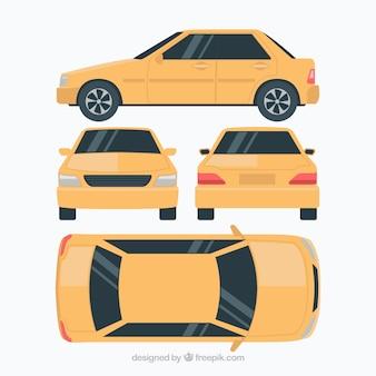 Płaski samochód w różnych widokach