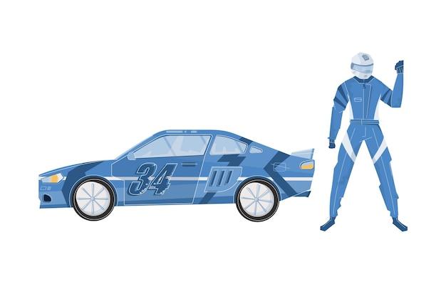 Płaski samochód wyścigowy i postać zawodnika w kasku i niebieskim stroju