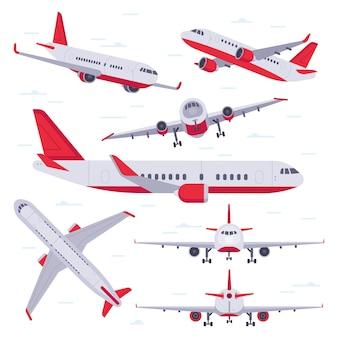 Płaski samolot. podróż samolotem, skrzydła lotnicze i samoloty lądujące na białym tle
