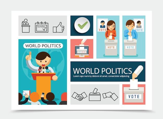 Płaski skład elementów do głosowania