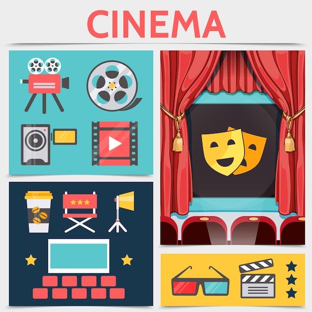 Płaski skład ikon kinematografii