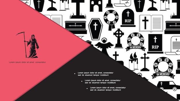 Płaski skład ikon pogrzebowych i pogrzebowych