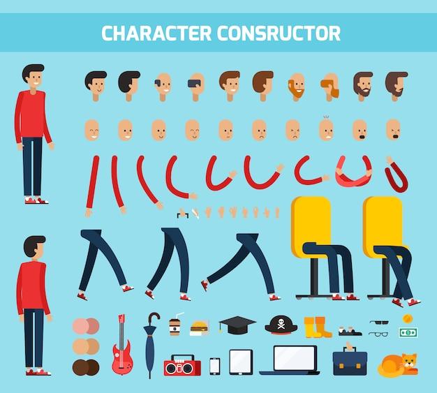 Płaski skład konstruktora męskiego charakteru