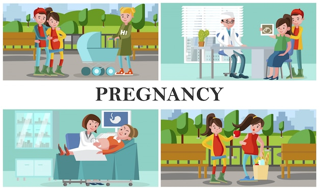 Płaski skład macierzyński i ciążowy z kobietami w ciąży prowadzi zdrowy tryb życia i odwiedza szpital w celu kontroli medycznej