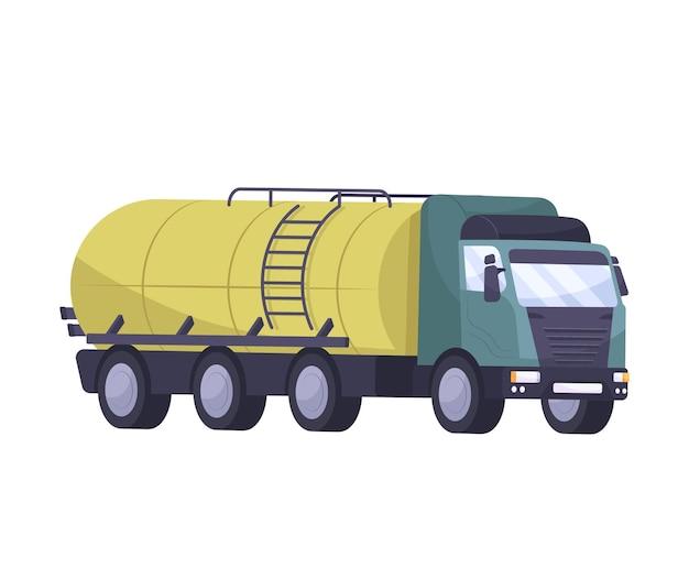 Płaski skład przemysłu naftowego z odizolowanym obrazem ciężarówki z cysterną na ropę naftową