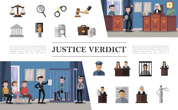 Płaski skład systemu prawnego z oskarżonym prawnikiem, sędzią przysięgłym, policjantem w sądzie i kolorowymi ikonami sprawiedliwości