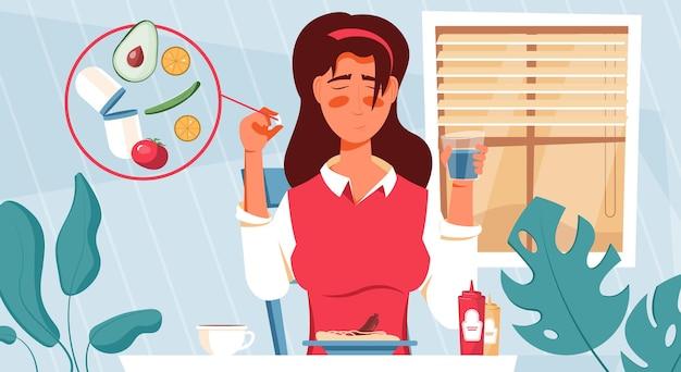 Płaski skład tabletek witaminowych z domową scenerią i charakterem kobiety myślącej o przyjmowaniu ilustracji suplementów diety