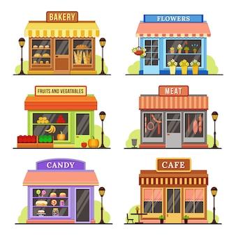Płaski sklep nowoczesny sklep, butikowa fasada sklepowa i restauracja