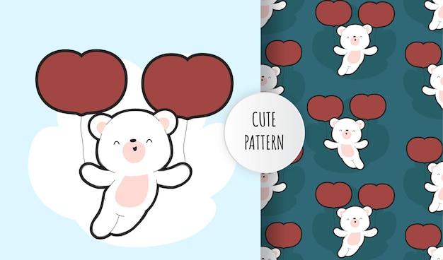 Płaski słodki biały miś leci z zestawem wzoru balonu