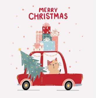 Płaski słodki kotek jedzie czerwonym samochodem z sosnową choinką i stosem prezentowego pudełka na dachu, wesołych świąt