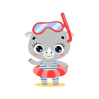 Płaski słodki nosorożec z kreskówek z pierścieniem do pływania i maską do nurkowania letnie tropikalne zwierzęta na plaży