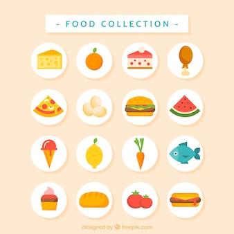 Płaski smaczne i pyszne jedzenie kolekcji