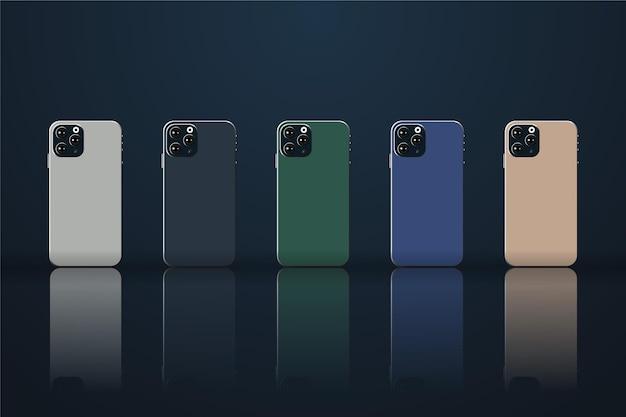 Płaski smartfon w różnych kolorach