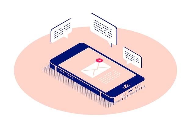 Płaski smartfon w widoku izometrycznym z ikonami mediów społecznościowych
