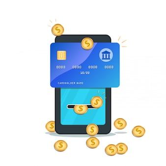 Płaski smartfon z kartą kredytową, złote monety na białym tle