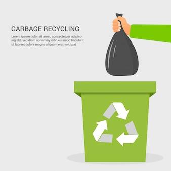Płaski śmieci recykling kolorowy koncepcja