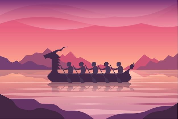 Płaski smok tło łódź