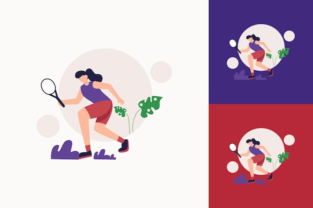 Płaski sport ilustracja tenisa of