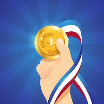 Płaski sportowiec posiadający złoty medal