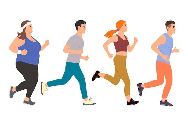 Płaski sportowiec uruchomiona biegacz znaków ilustracja
