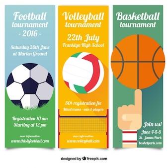Płaski sportu transparenty turniejów