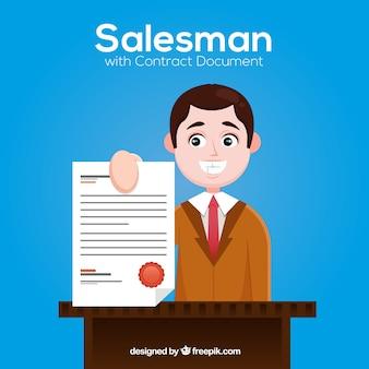 Płaski sprzedawca z dokumentem umowy