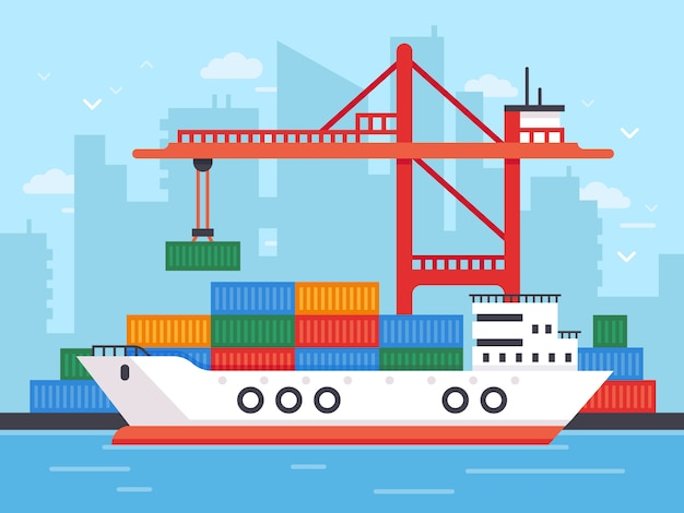 Płaski statek towarowy w dokach.