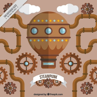 Płaski steampunk maszyny tło