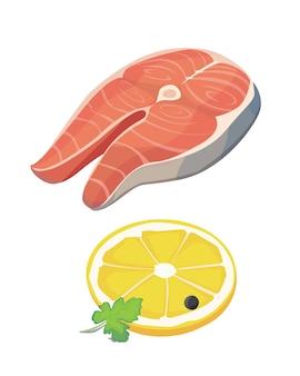 Płaski stek z łososia i plasterek cytryny