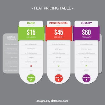 Płaski stół cenowa ze szczegółami kolorów