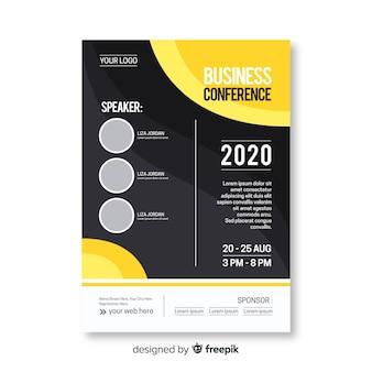 Płaski streszczenie biznes konferencji szablon ulotki