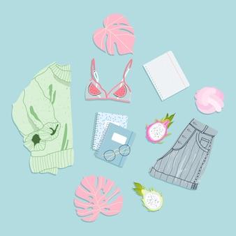 Płaski strój na lato. modne ręcznie rysowane ubrania na białym tle. odzież letnia. różnorodne elementy garderoby, takie jak sweter, szorty, stanik. monstera liście i notesy widok z góry na dół.