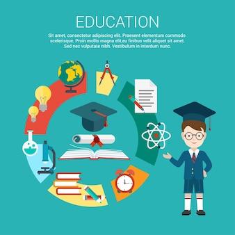 Płaski student wskazuje na cykl procesu edukacji i ilustrację osiągnięcia certyfikatu ukończenia szkoły. koncepcja infografiki edukacji i wiedzy.