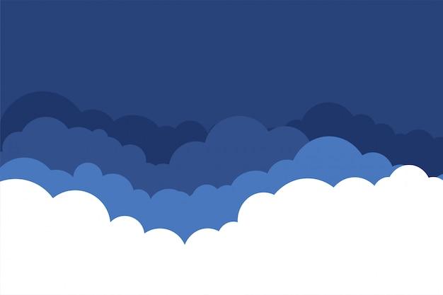 Płaski styl chmury w tle niebieski odcienie