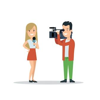 Płaski styl kobieta dziennikarz korespondent ilustracji wektorowych