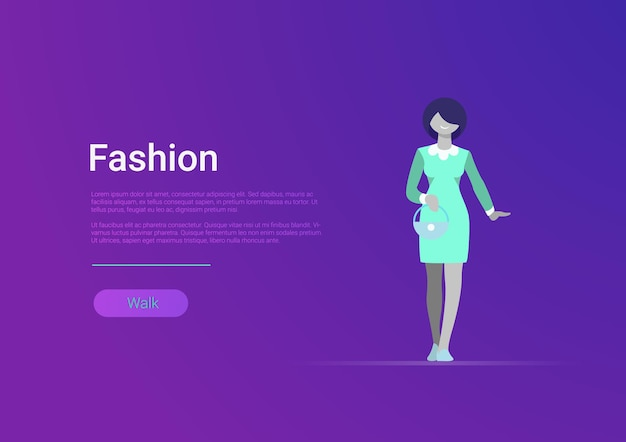 Płaski styl kobieta moda sieci web szablon transparent wektor ilustracja