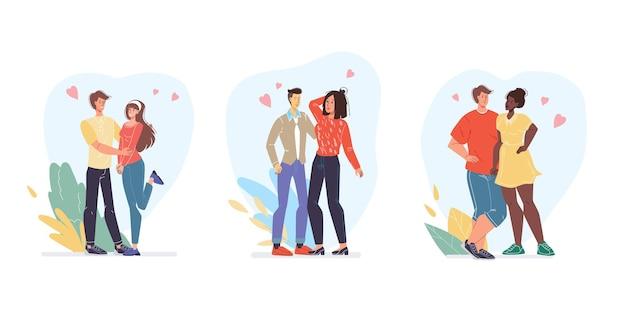 Płaski styl kreskówek miłośników spędzania czasu razem
