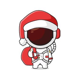 Płaski styl kreskówki śliczny astronauta niosący obecny worek świętujący boże narodzenie kreskówka doodle ikona ilustracja