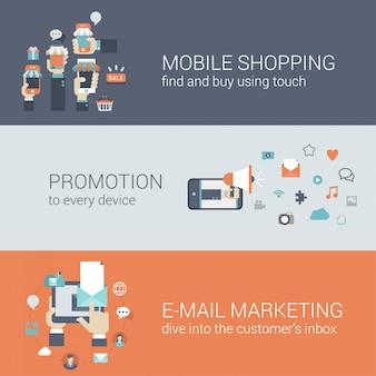 Płaski styl mobilny e-commerce promocja infographic koncepcja. inteligentny telefon internetowy sklep internetowy sprzedaż zakupy tablet promocja e-mail marketing witryny sieci web ikona banery szablony zestaw.