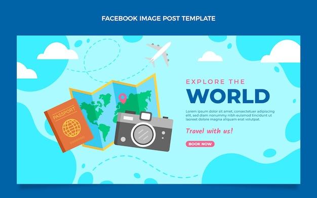 Płaski styl podróżuj po świecie na facebooku