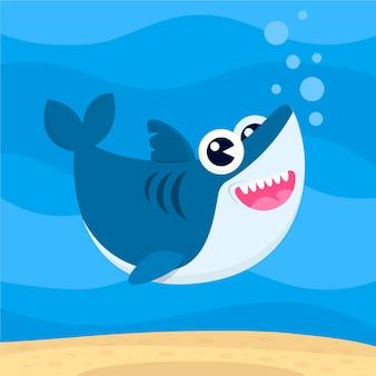 Płaski styl słodkie dziecko rekin