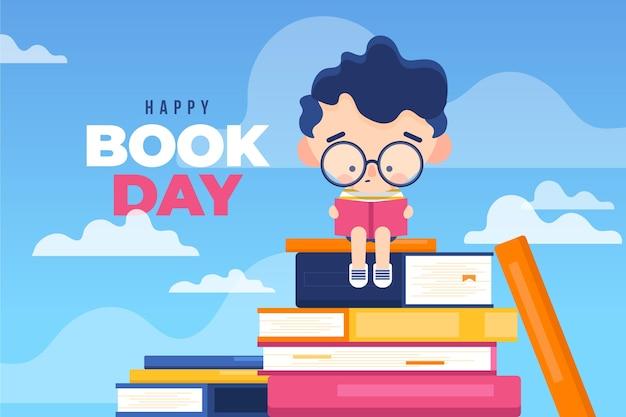 Płaski styl światowy dzień książki styl