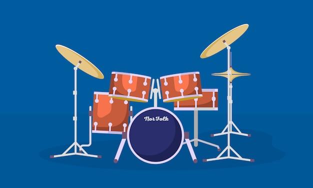 Płaski styl zestawu perkusyjnego