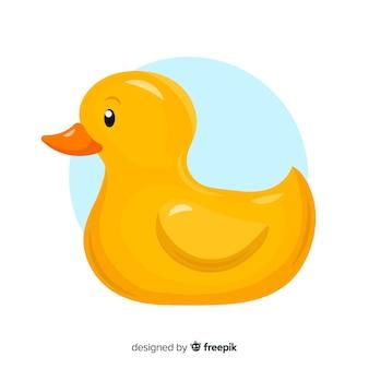 Płaski styl żółtej gumowej kaczki