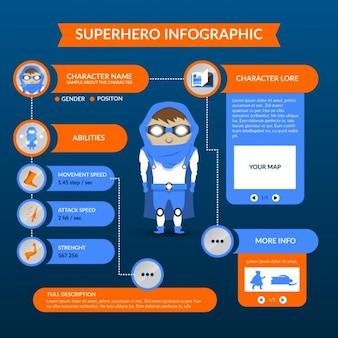 Płaski super hero infografika