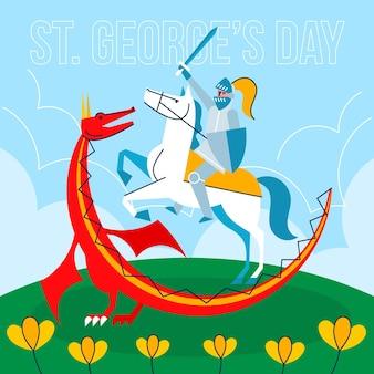Płaski św. dzień jerzego z rycerzem i smokiem